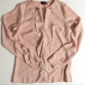 The Limited Blush Pink Long Sl Blouse XS Ruffles